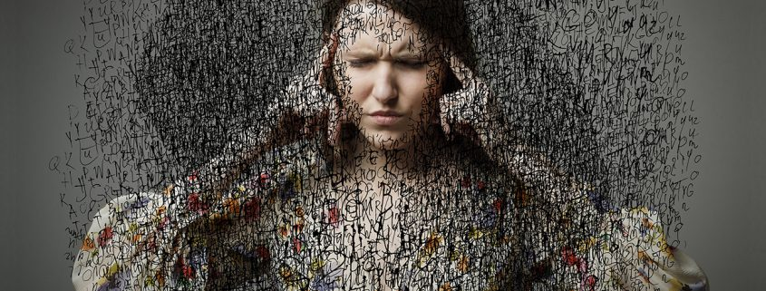 Headache. Obsession. The stream of dark thoughts. Expressions, feelings and moods. Young woman suffering from dark thoughts.